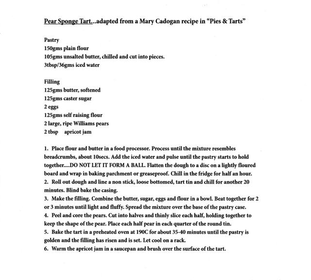 Pear sponge tart